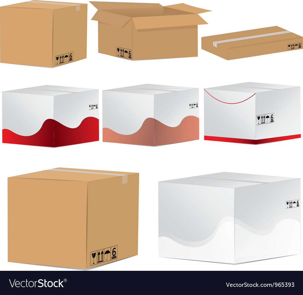 Designed card board packing boxes vector | Price: 1 Credit (USD $1)