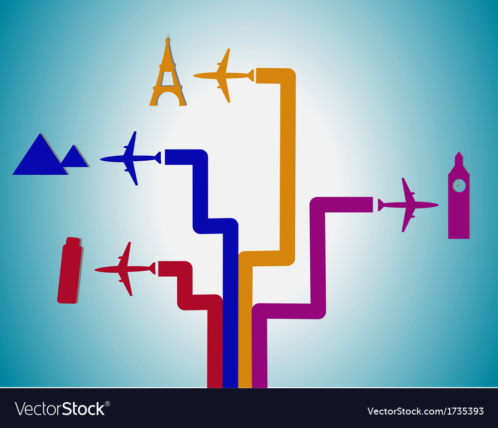 Flight destination vector | Price: 1 Credit (USD $1)
