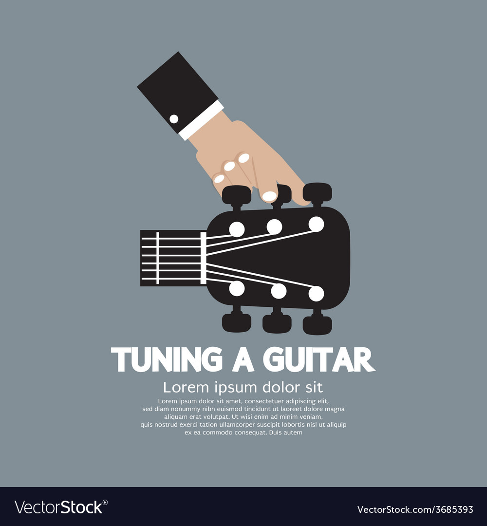 Hand tuning a guitar vector | Price: 1 Credit (USD $1)
