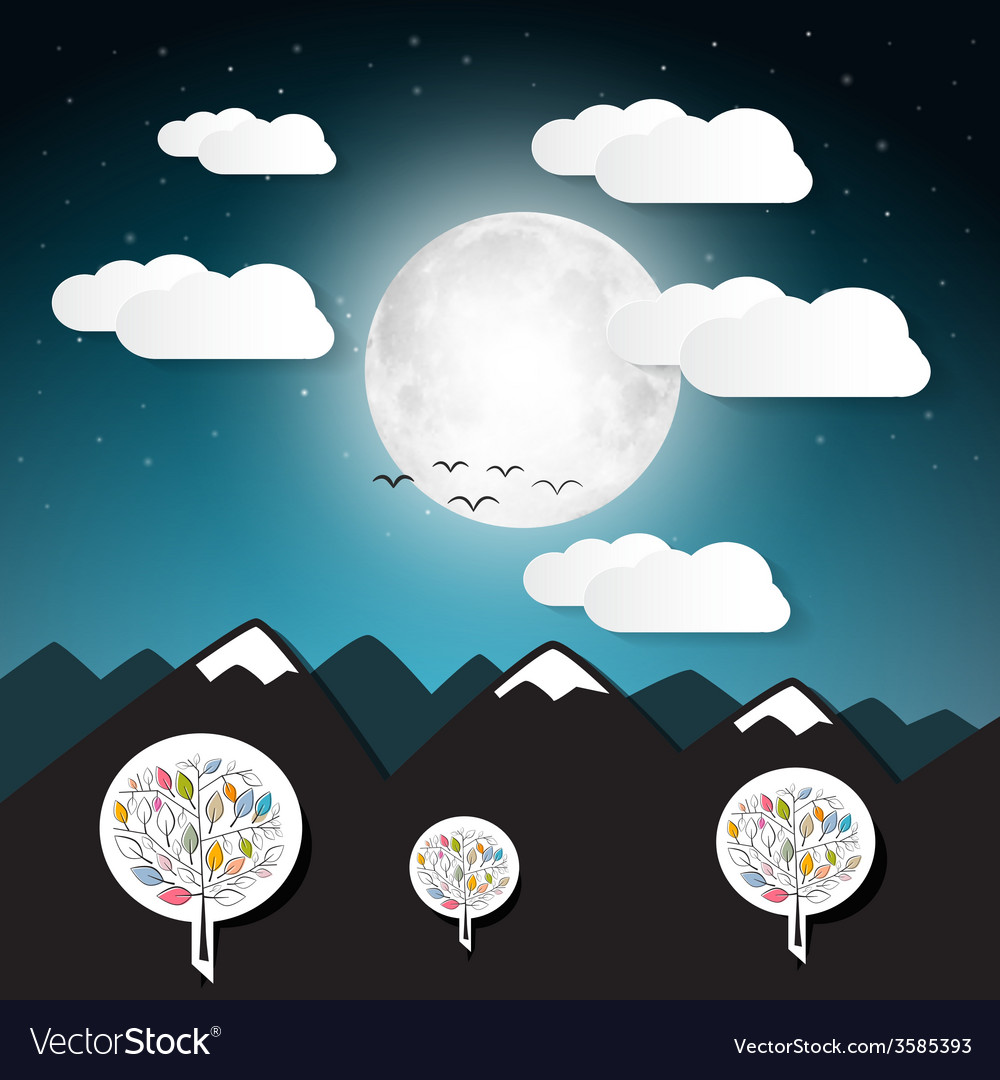 Landscape with full moon and mountains vector | Price: 1 Credit (USD $1)