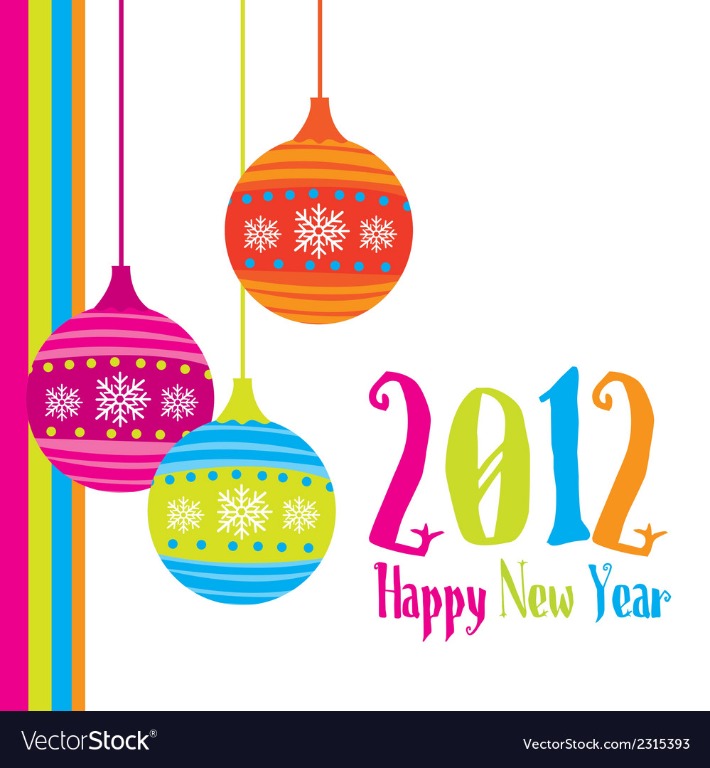 New year card 2012 with christmas balls vector | Price: 1 Credit (USD $1)