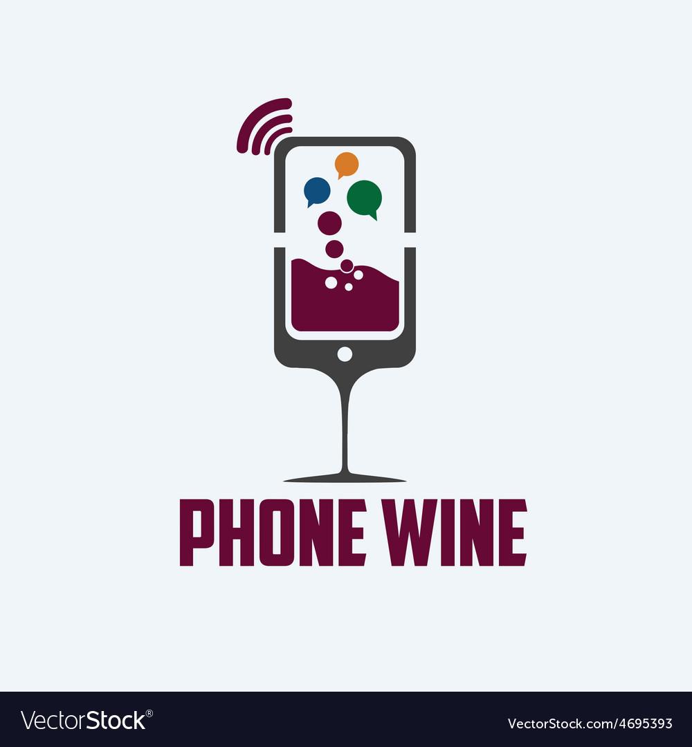 Phone wine concept vector | Price: 1 Credit (USD $1)