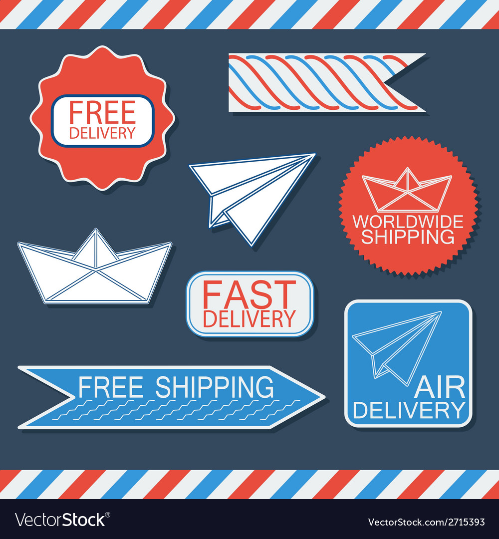 Set of delivery badges and labels bluewhite and vector | Price: 1 Credit (USD $1)