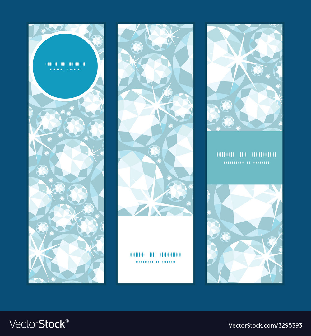 Shiny diamonds vertical banners set pattern vector | Price: 1 Credit (USD $1)