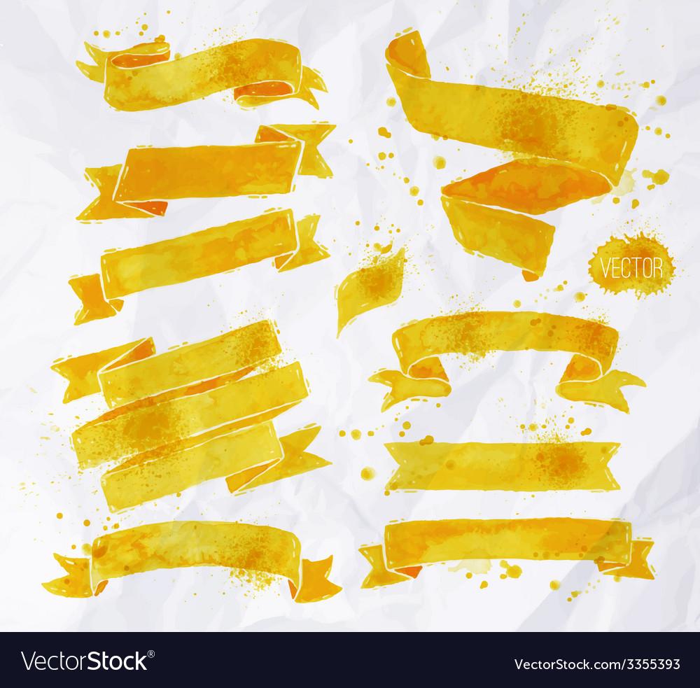 Watercolors ribbons yellow vector