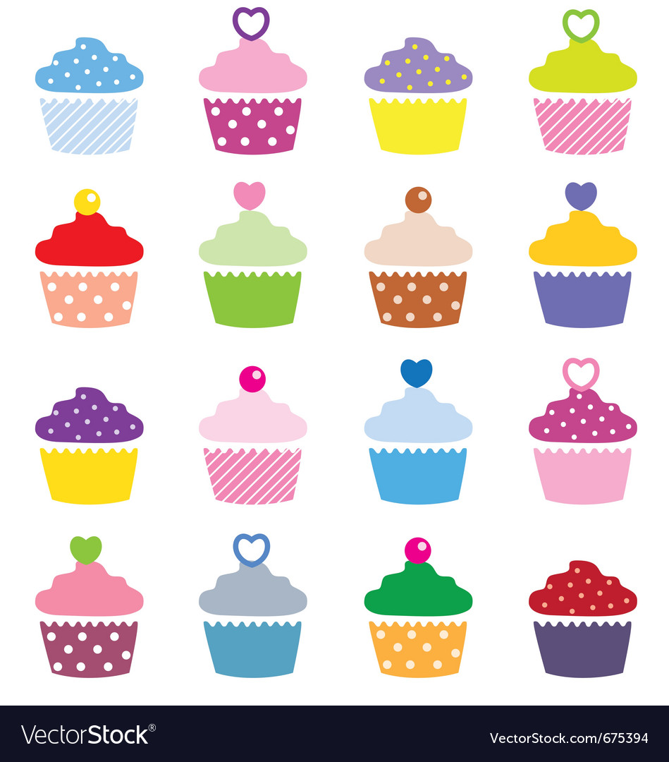 A selection of delicious cupcakes vector | Price: 1 Credit (USD $1)