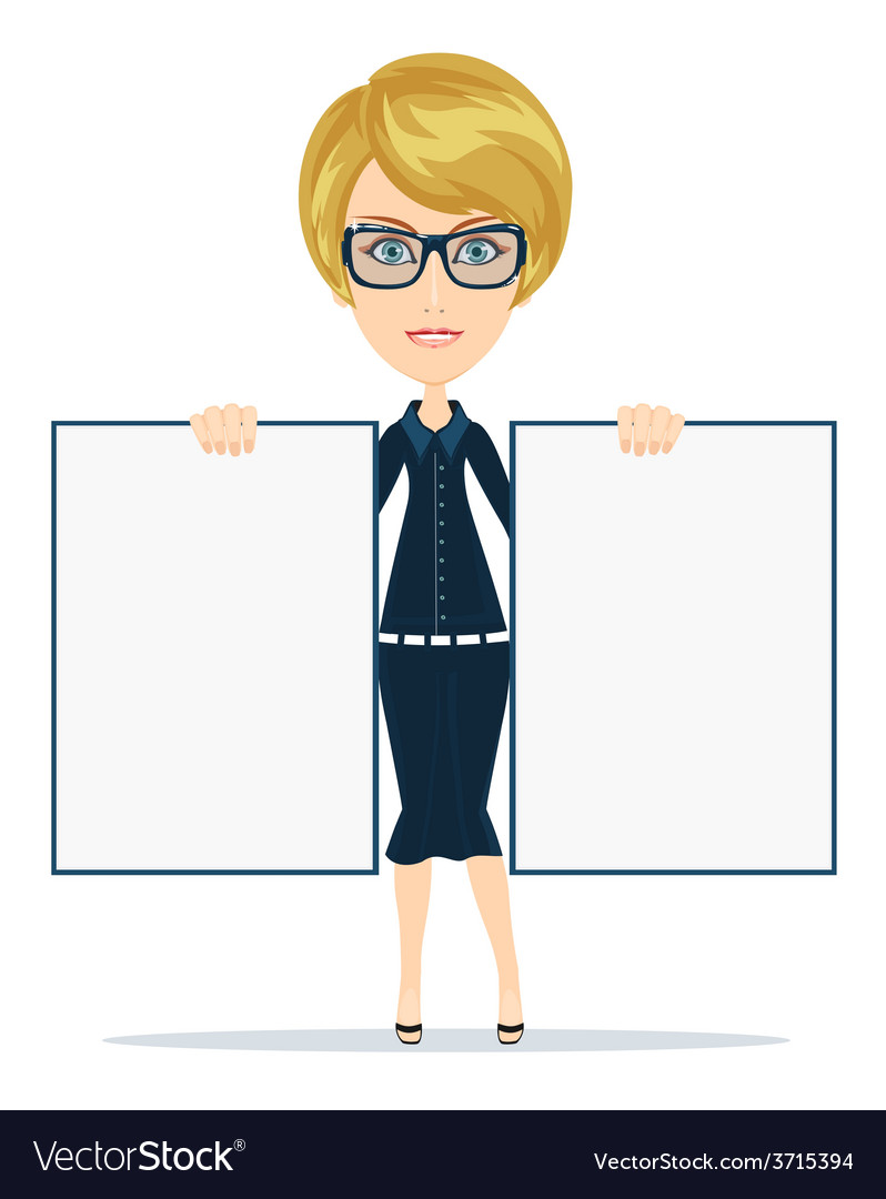 Cartoon teacher businesswoman in glasses holding vector | Price: 1 Credit (USD $1)