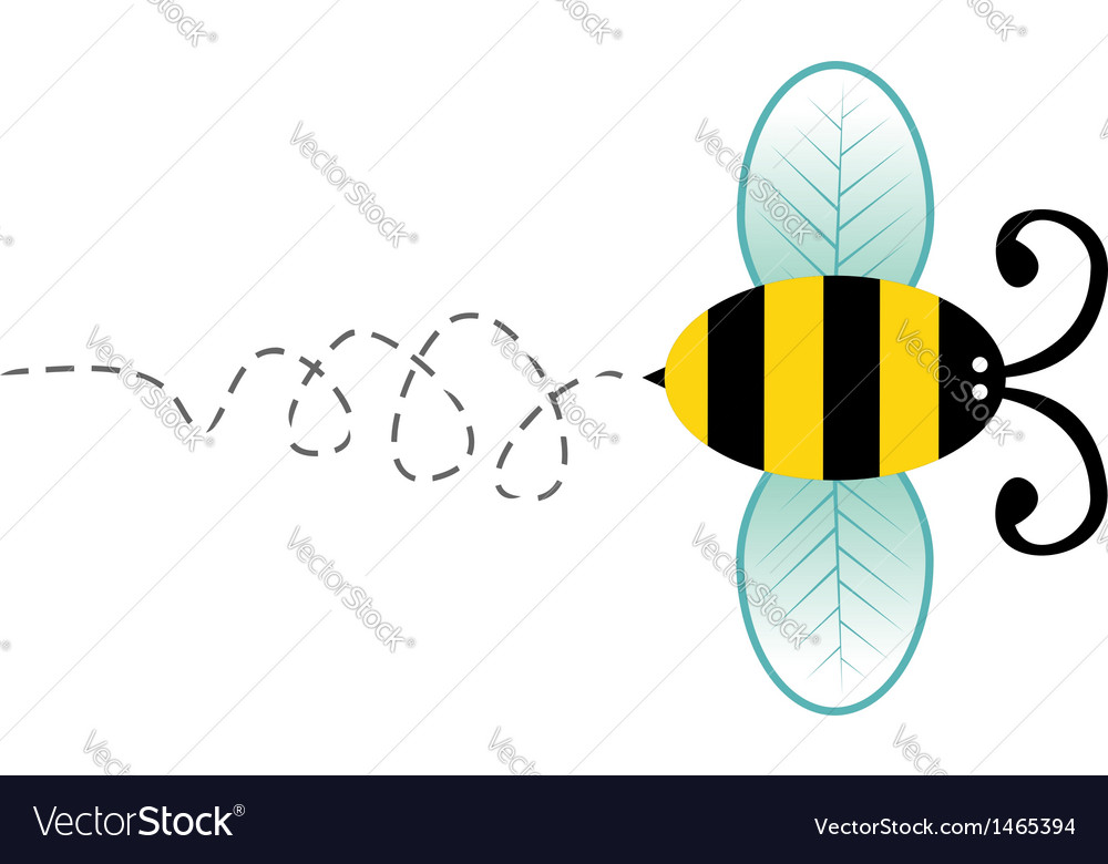 Cute bee cartoon character vector | Price: 1 Credit (USD $1)