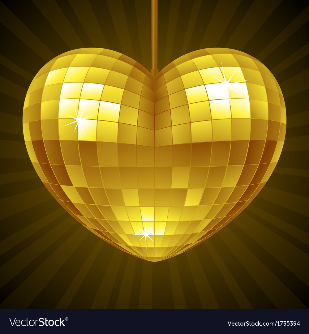 Disco heart yellow mirror disco ball vector | Price: 1 Credit (USD $1)