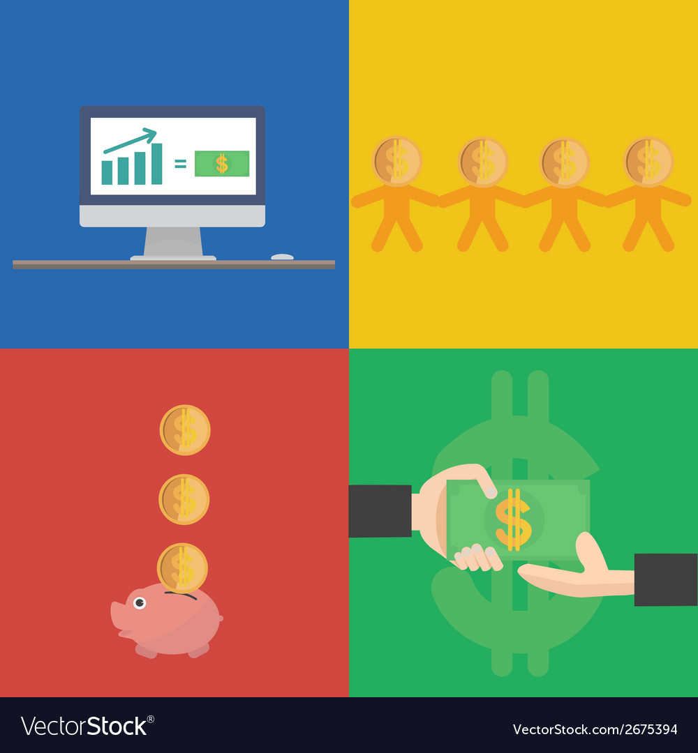 Financial concept flat design vector | Price: 1 Credit (USD $1)