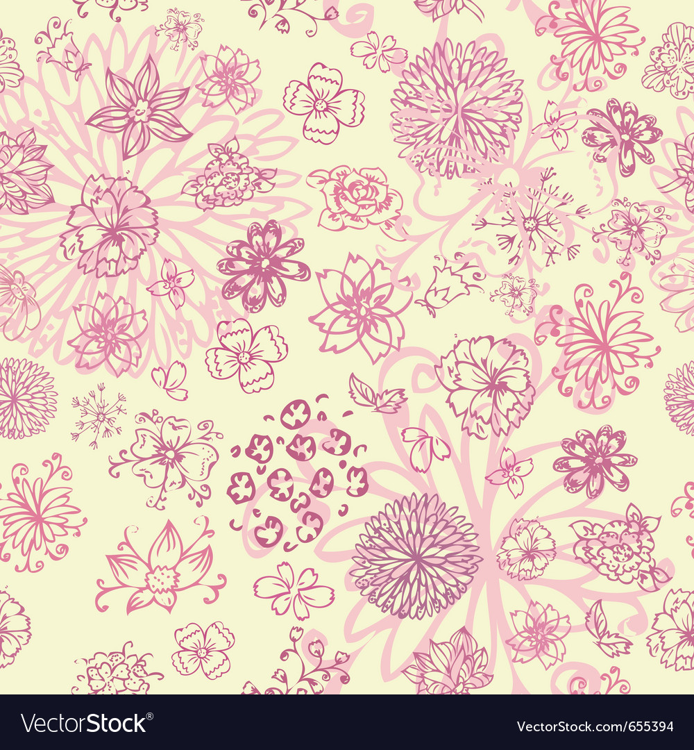 Flowers hand drawing seamless vector | Price: 1 Credit (USD $1)
