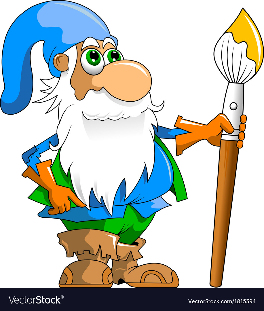 Gnome with paintbrush vector | Price: 1 Credit (USD $1)
