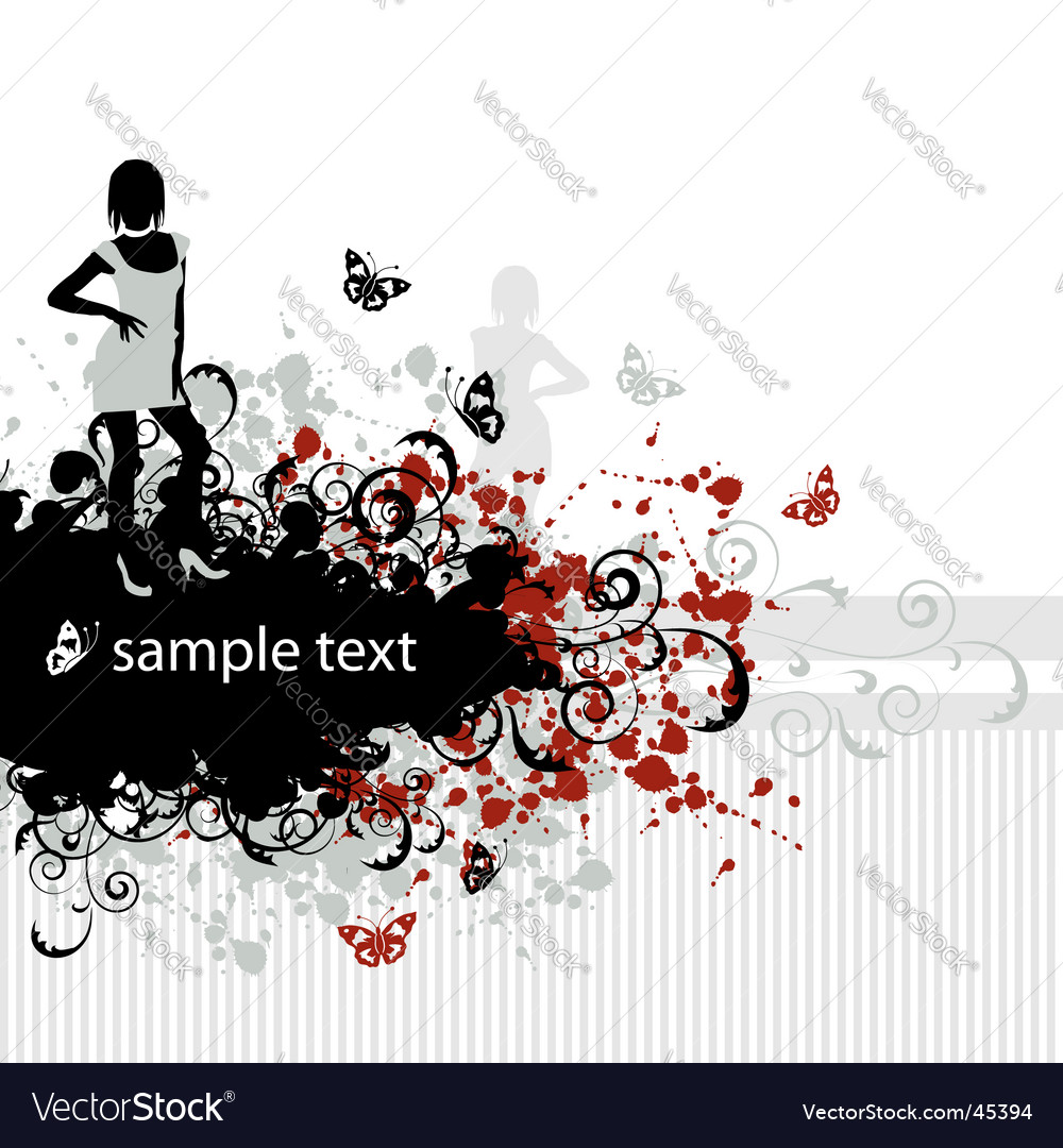 Grunge background beautiful girl vector | Price: 1 Credit (USD $1)