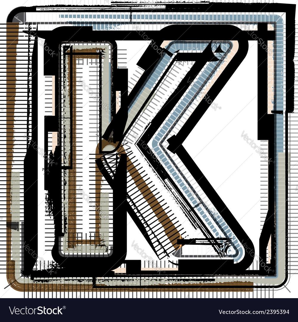 Grunge font letter k vector | Price: 1 Credit (USD $1)