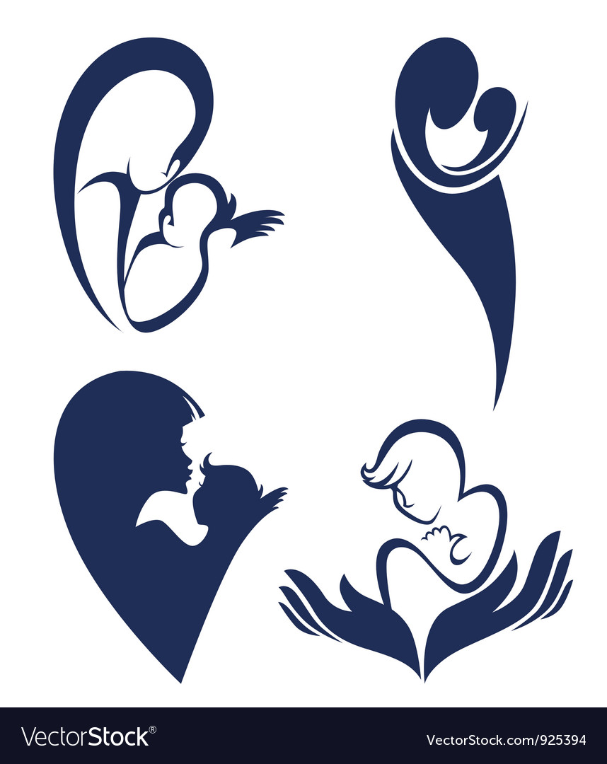 Mother love logo and symbols vector