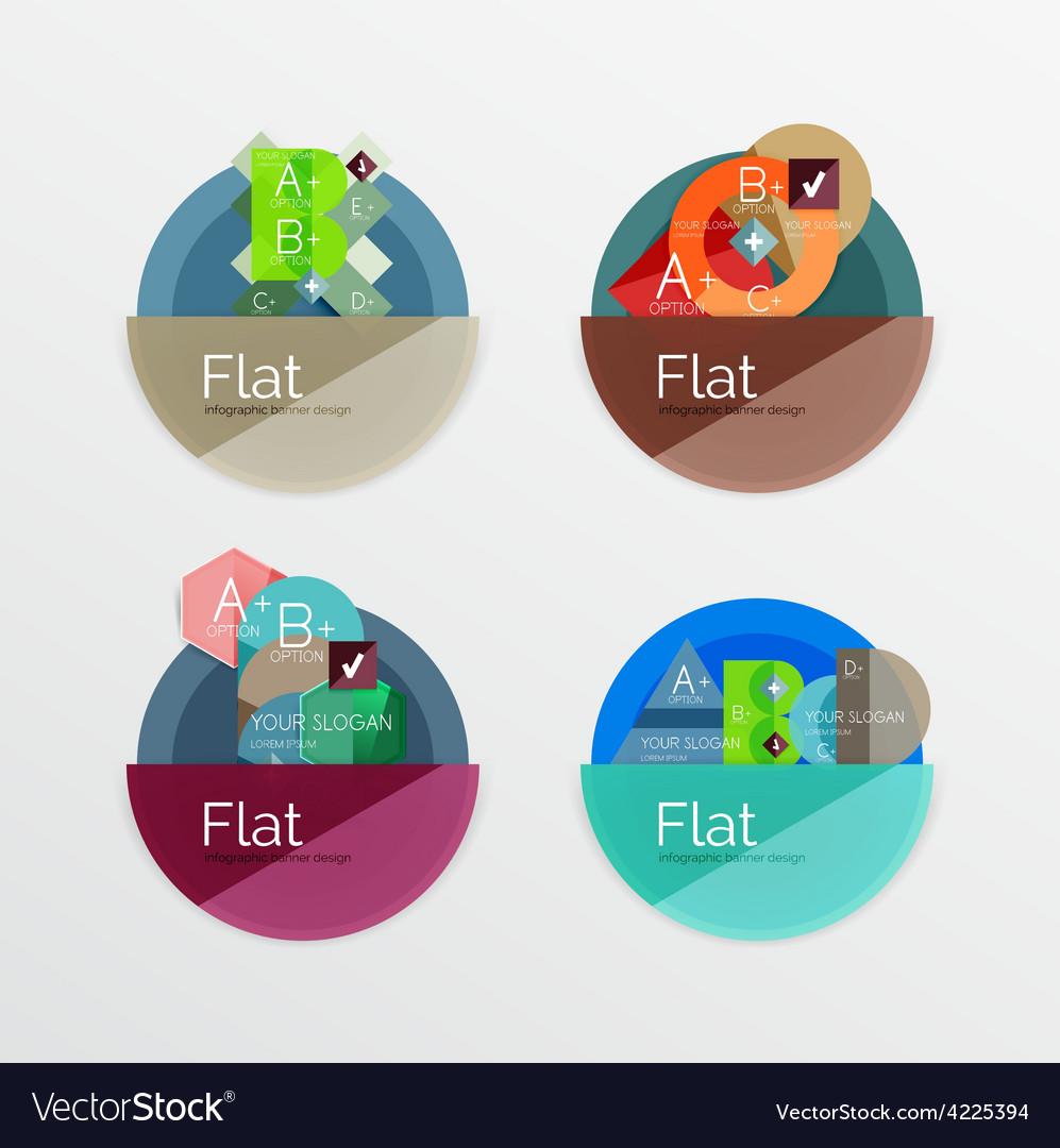 Set of flat design circle infographic icons vector | Price: 1 Credit (USD $1)