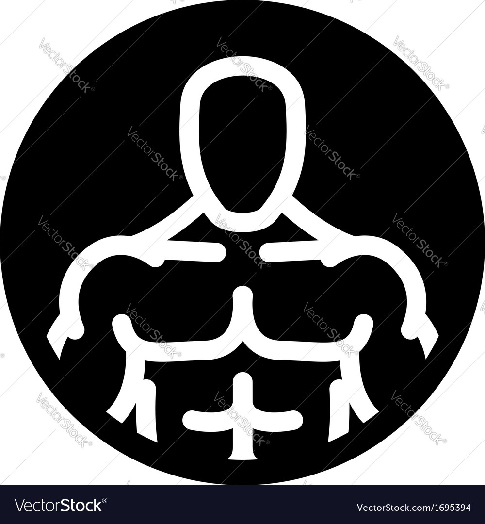Strong man symbol in black circle vector | Price: 1 Credit (USD $1)