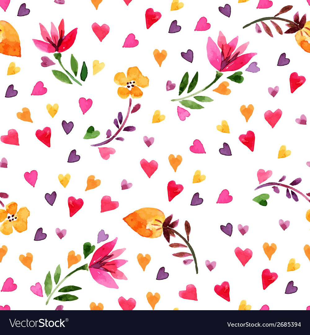 Watercolor floral seamless pattern vector | Price: 1 Credit (USD $1)