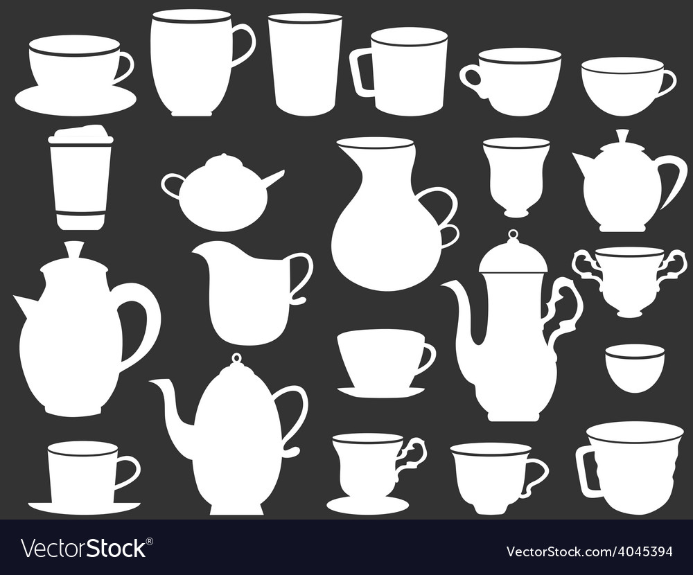 White coffee and tea cups silhouettes vector | Price: 1 Credit (USD $1)