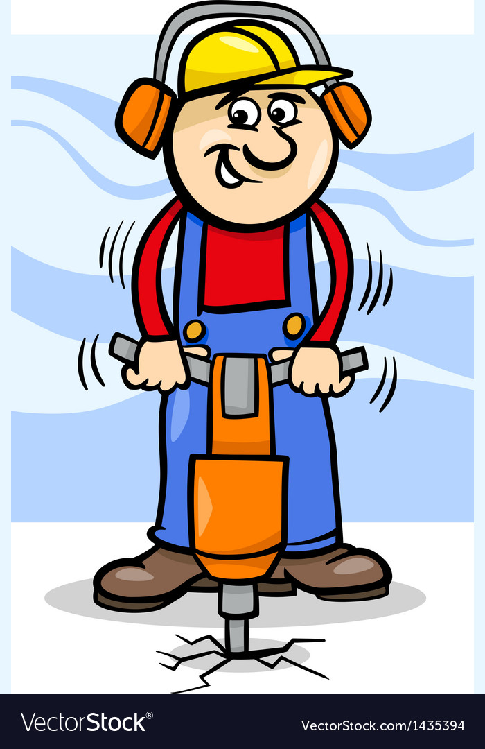 Worker with pneumatic hammer cartoon vector | Price: 1 Credit (USD $1)
