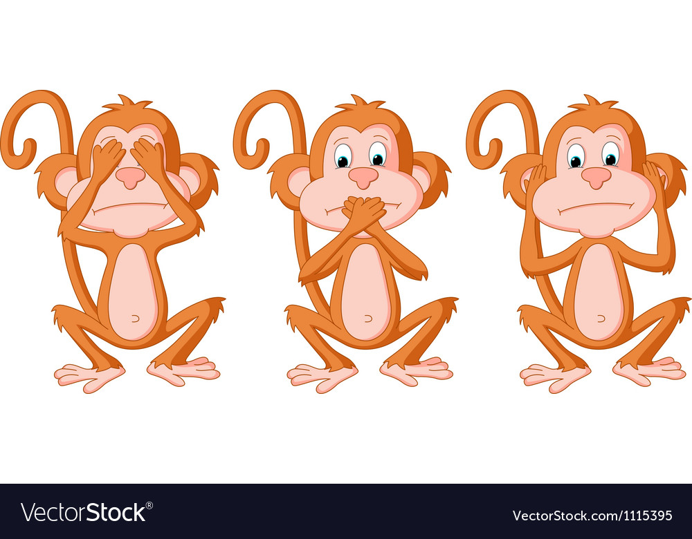 3 wise monkey pose vector | Price: 3 Credit (USD $3)