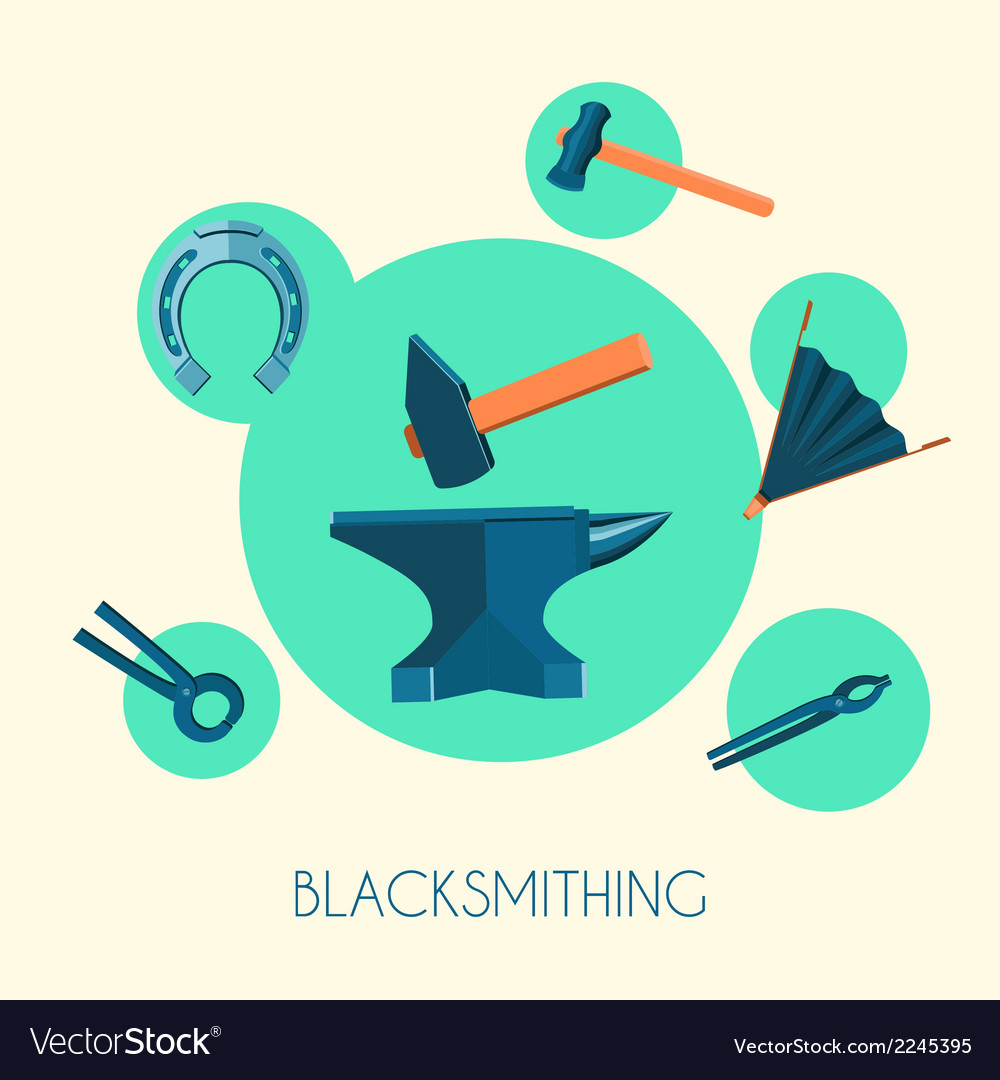 Blacksmith basic symbols emblems poster vector | Price: 1 Credit (USD $1)