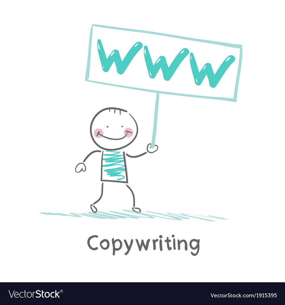 Copywriter holding a sign saying vector | Price: 1 Credit (USD $1)