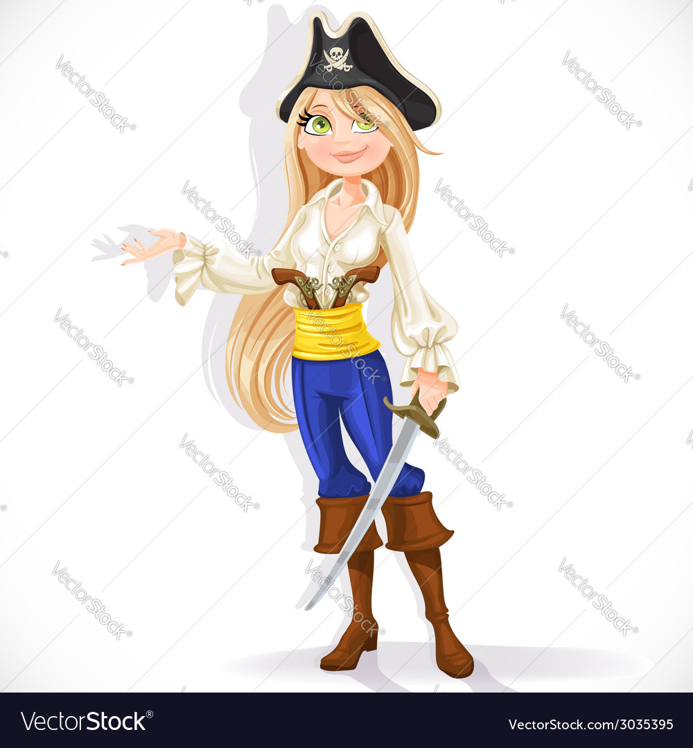 Cute pirate girl with cutlass vector | Price: 3 Credit (USD $3)