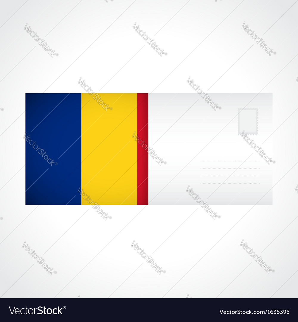 Envelope with romanian flag card vector | Price: 1 Credit (USD $1)