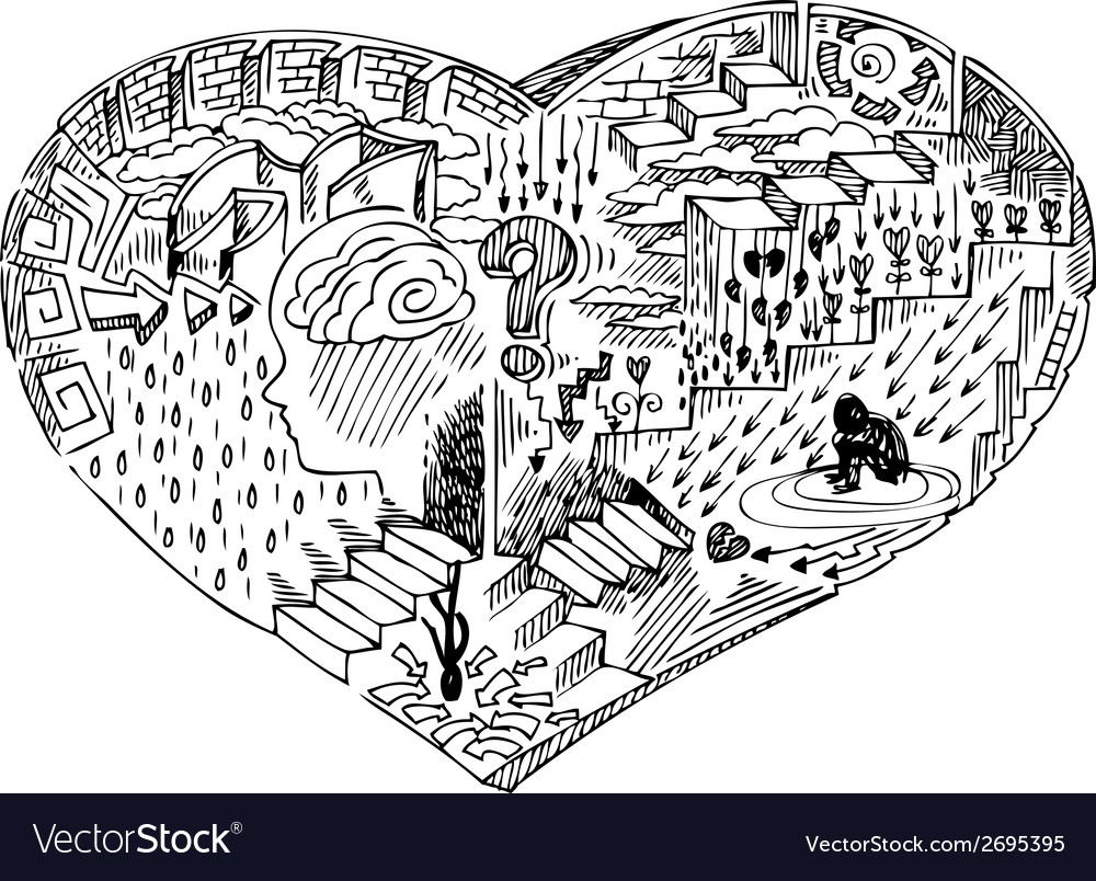 Heart shape with doodles vector   Price: 1 Credit (USD $1)