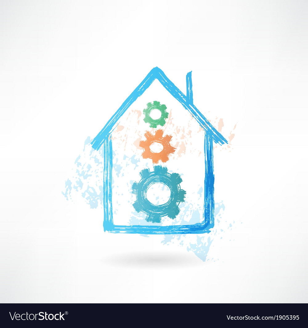 House mechanism grunge icon vector | Price: 1 Credit (USD $1)