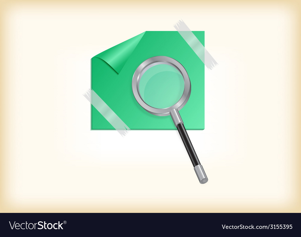 Magnifying glass with sticker vector | Price: 1 Credit (USD $1)