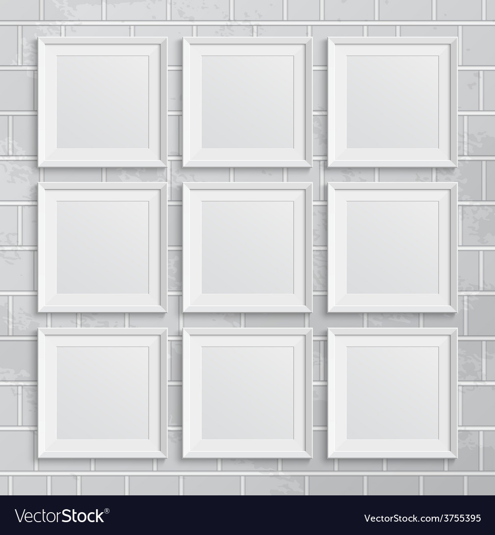 Set of square picture frames on brick wall vector | Price: 1 Credit (USD $1)