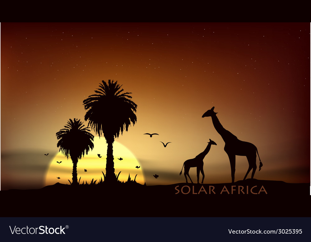 Sunrise over the african savanna giraffe and trees vector | Price: 1 Credit (USD $1)