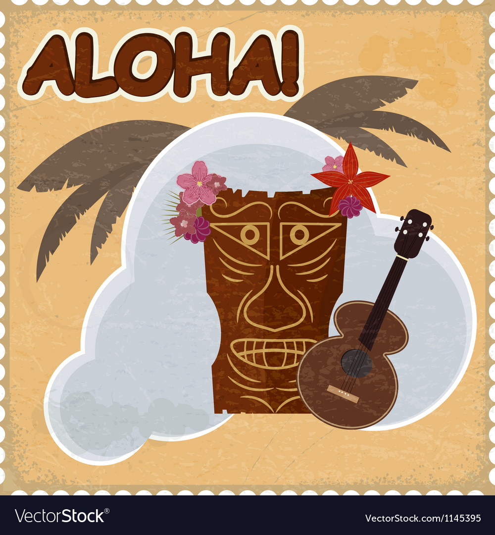 Vintage postcard with hawaiian elements eps10 vector | Price: 1 Credit (USD $1)