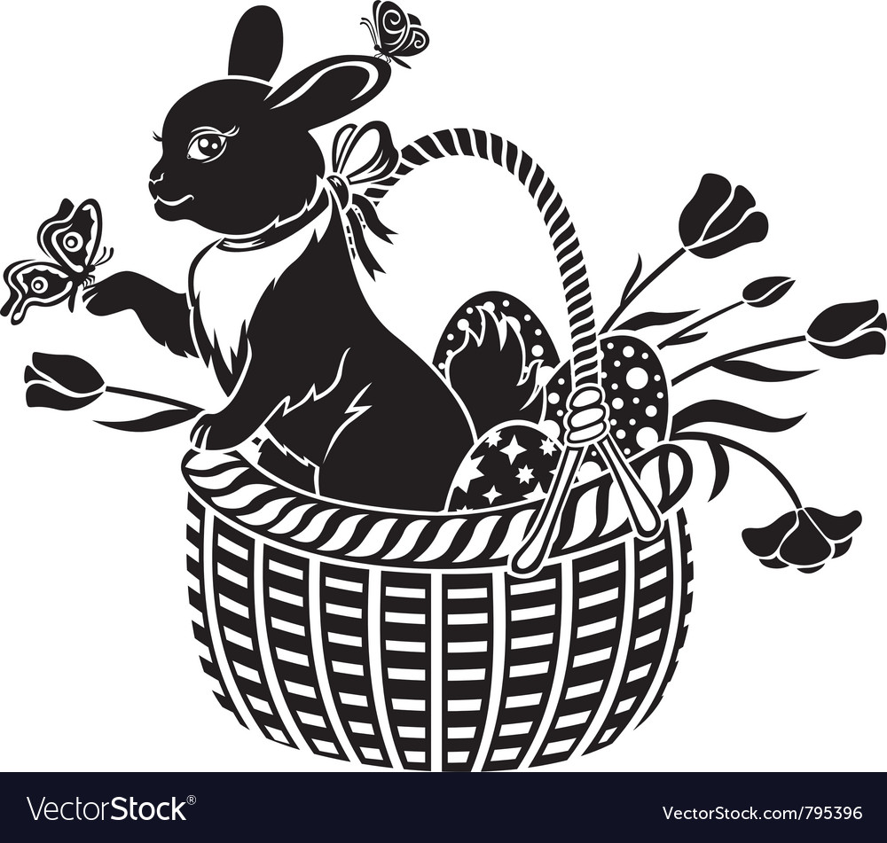 Basket with the hare vector | Price: 1 Credit (USD $1)
