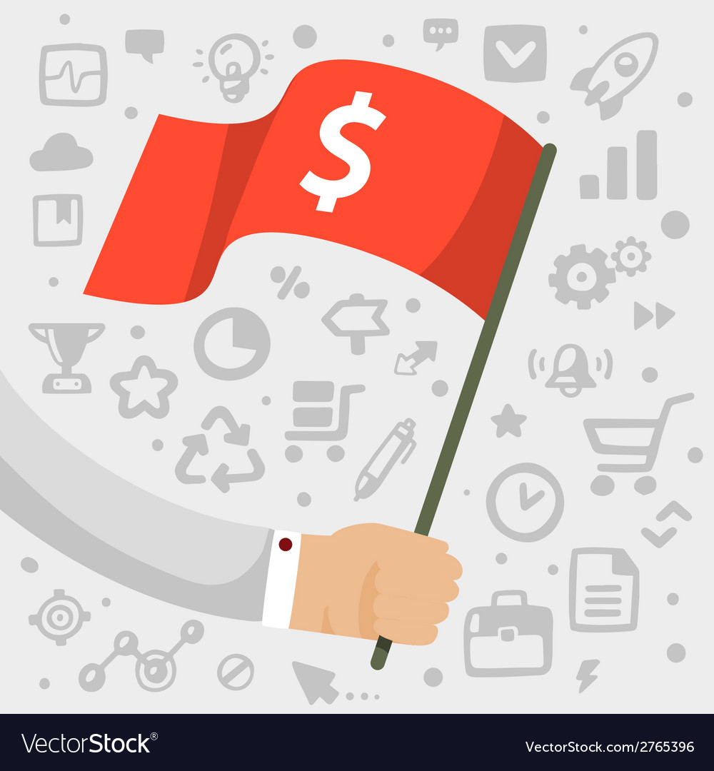 Bright mans hand holding a flag with dollar vector | Price: 1 Credit (USD $1)