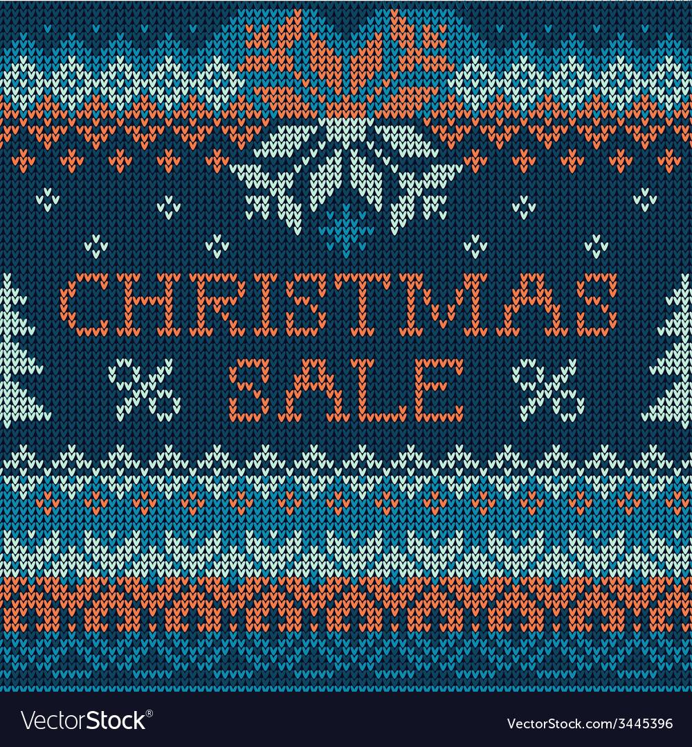 Christmas sale scandinavian style seamless knit vector | Price: 1 Credit (USD $1)