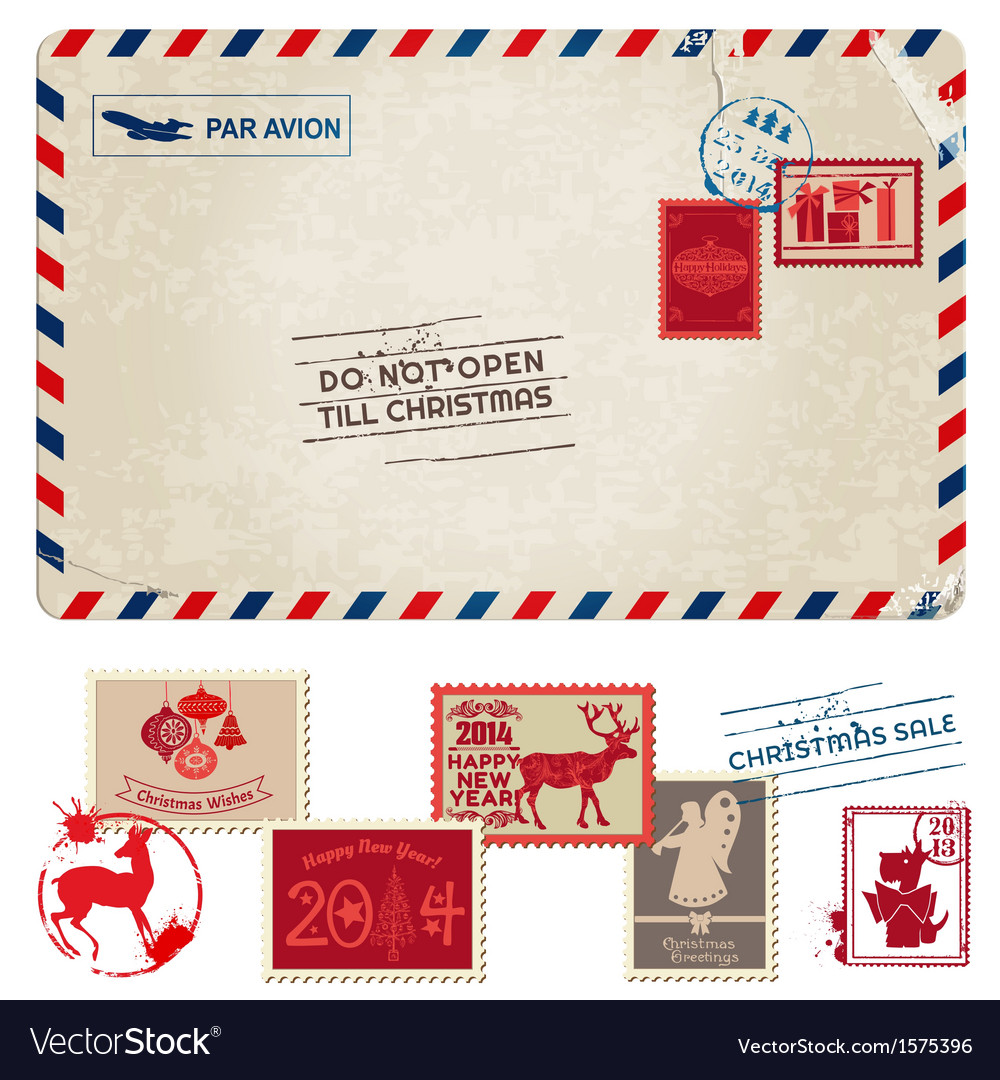 Christmas vintage postcard with postage stamps vector | Price: 1 Credit (USD $1)