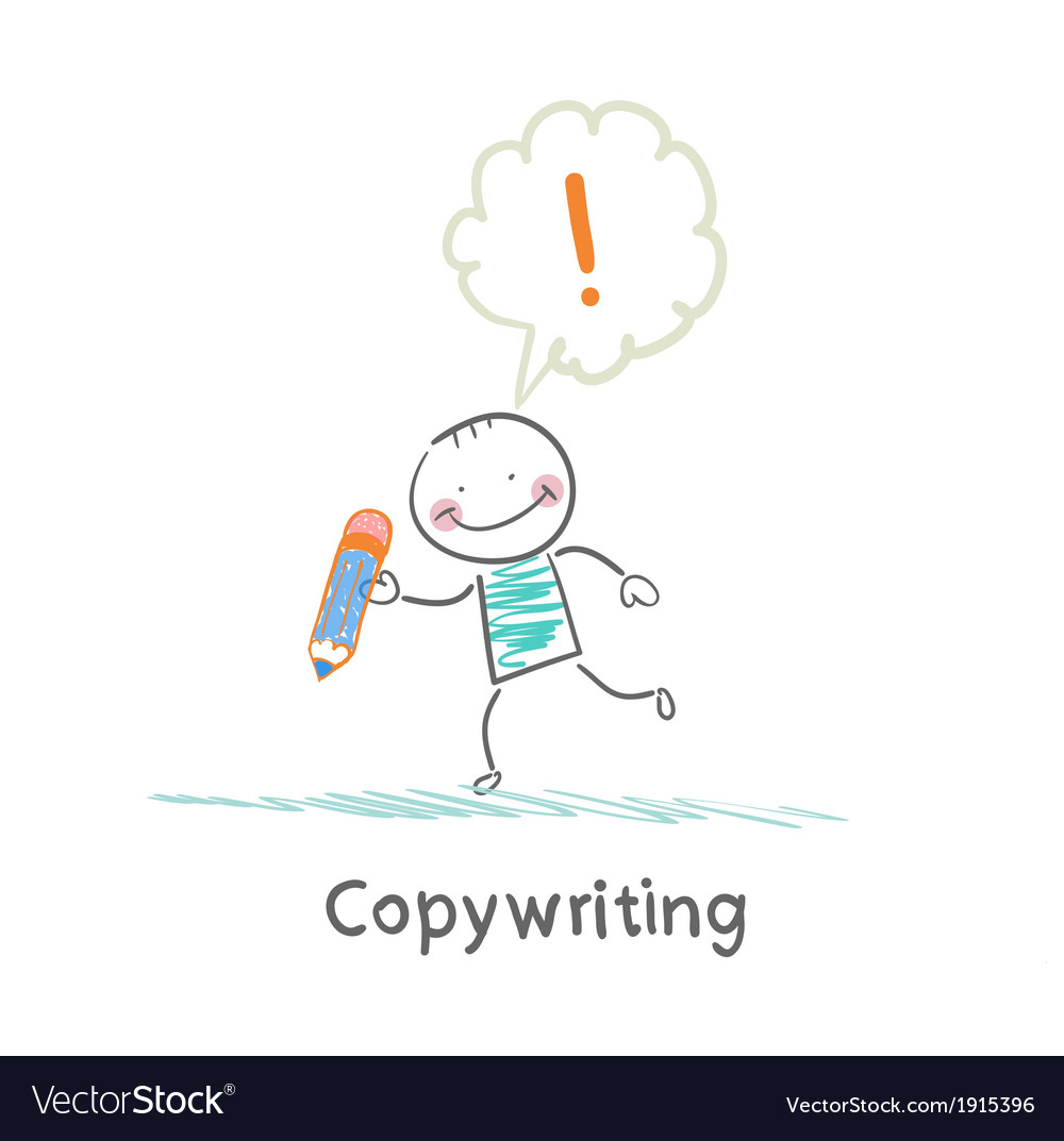 Copywriters holding a pencil and have an idea vector | Price: 1 Credit (USD $1)