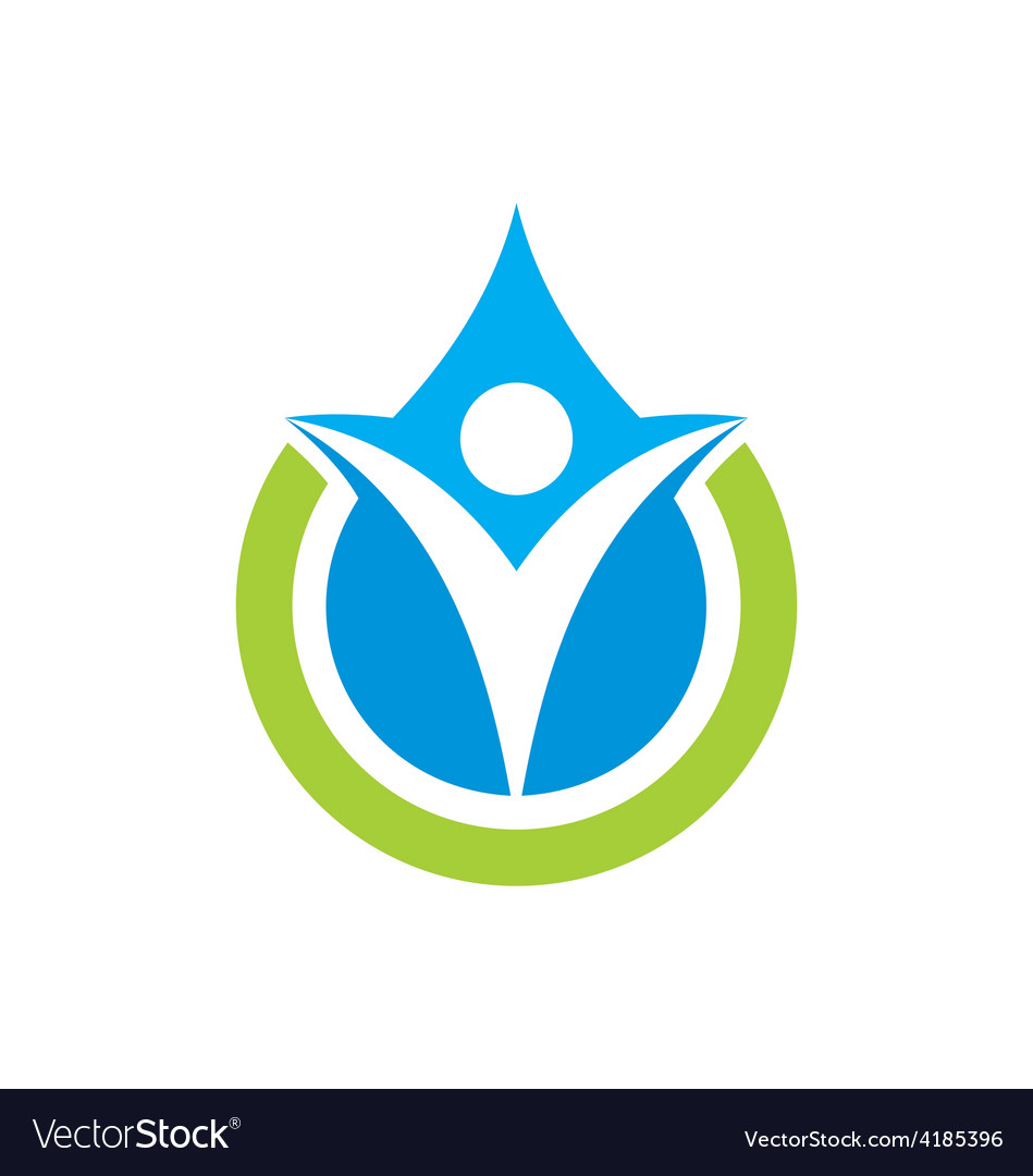 Eco people pure water logo vector | Price: 1 Credit (USD $1)