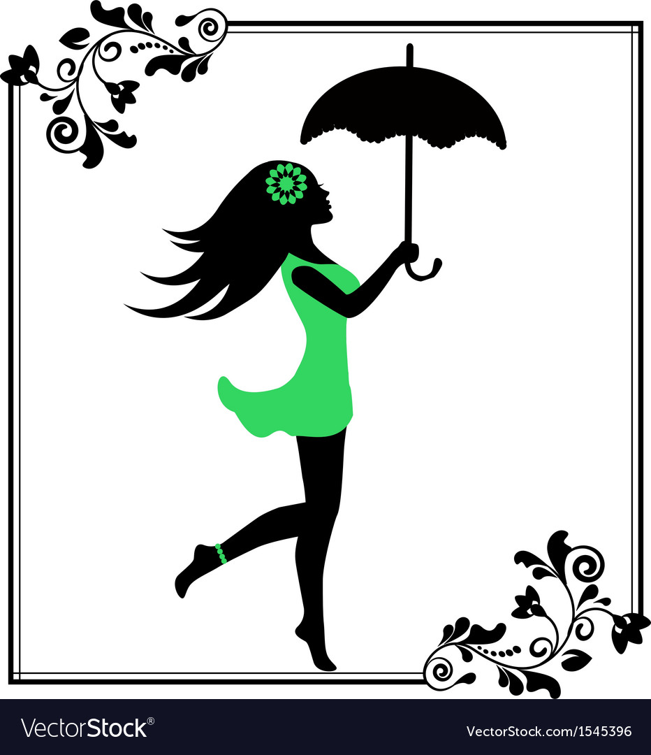 Girl with umbrella in a patterned frame vector | Price: 1 Credit (USD $1)