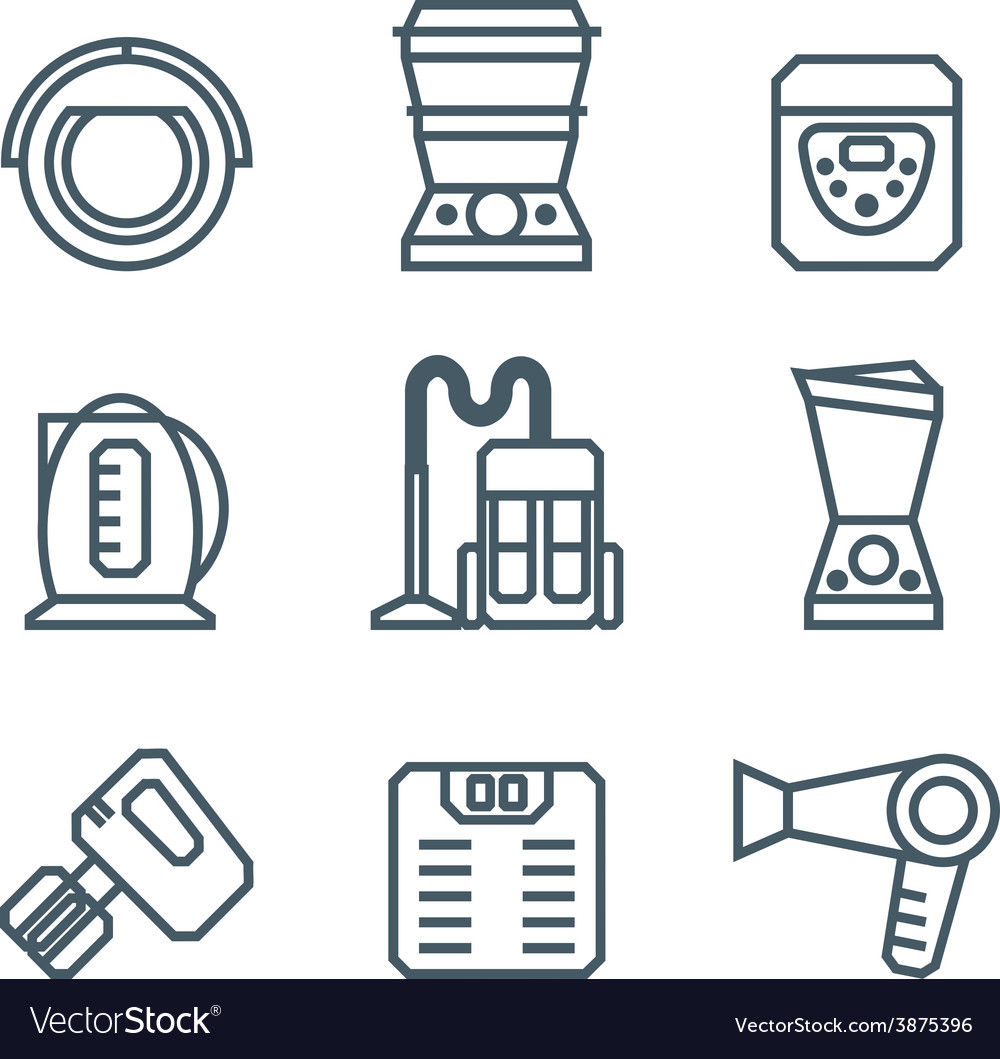 Home appliances modern linear modern concept vector | Price: 1 Credit (USD $1)