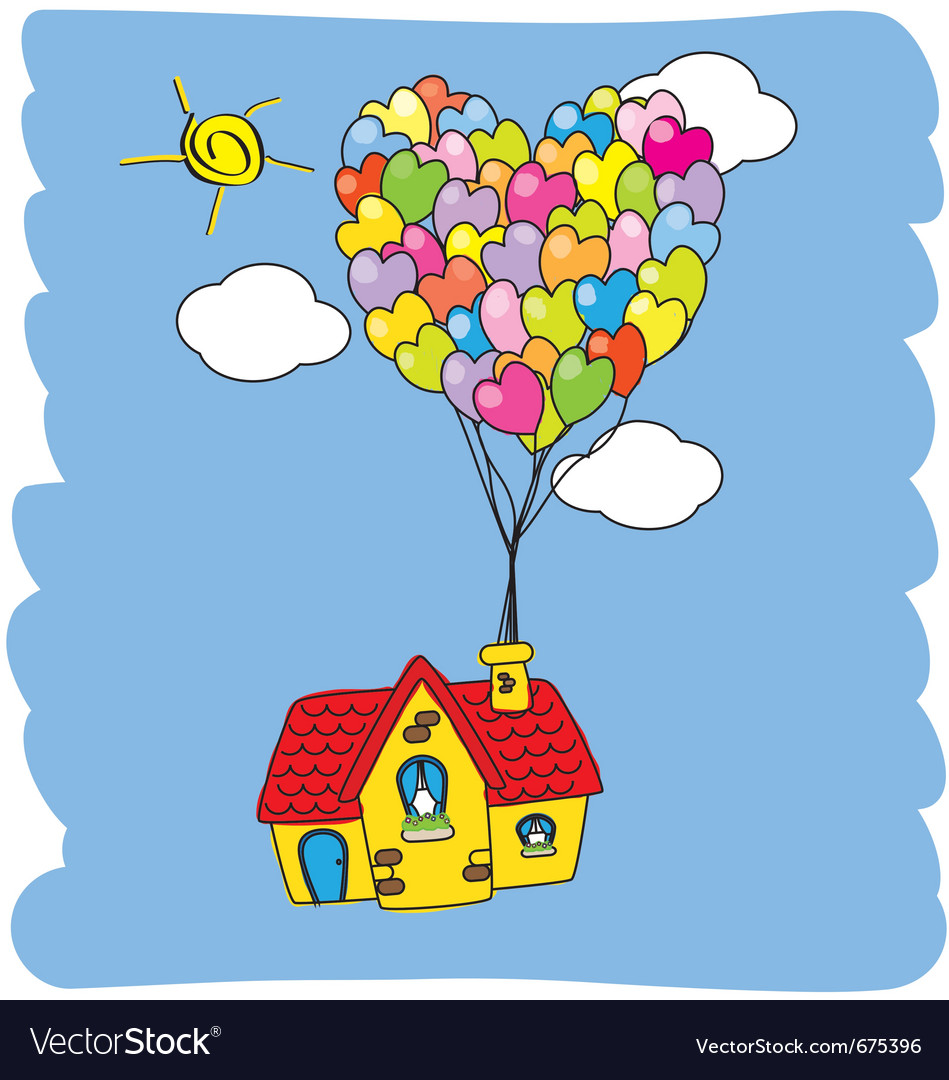 House flying with balloons vector   Price: 1 Credit (USD $1)