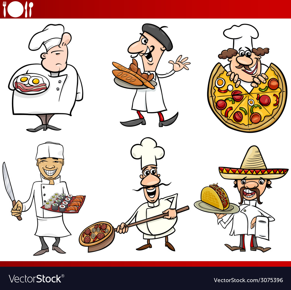 International cuisine chefs cartoons vector | Price: 3 Credit (USD $3)