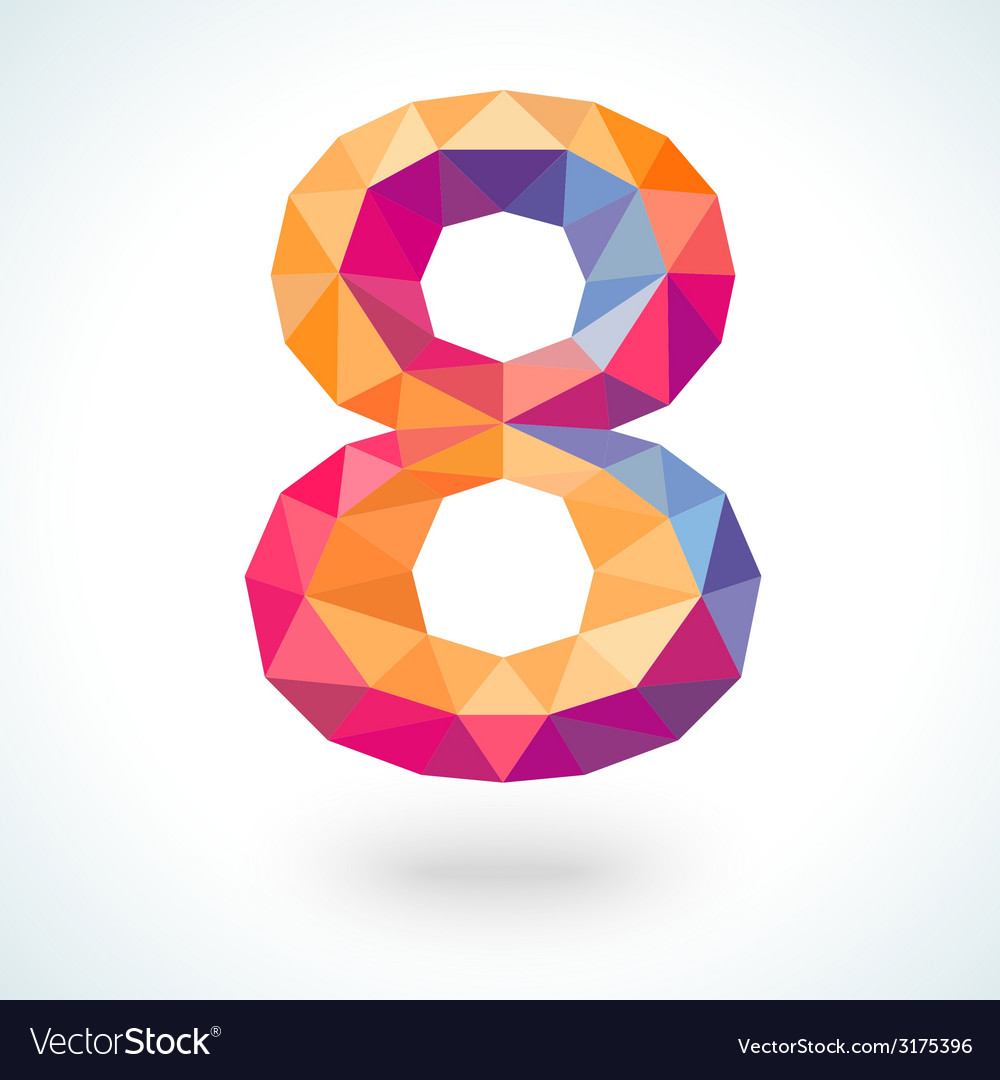 Number eight in modern polygonal crystal style vector | Price: 1 Credit (USD $1)