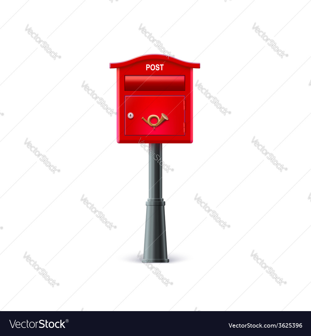 Red mailbox on the post vector | Price: 1 Credit (USD $1)