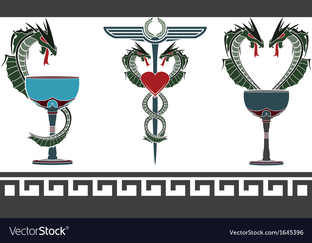Set of fantasy medical and pharmacy symbols vector | Price: 1 Credit (USD $1)
