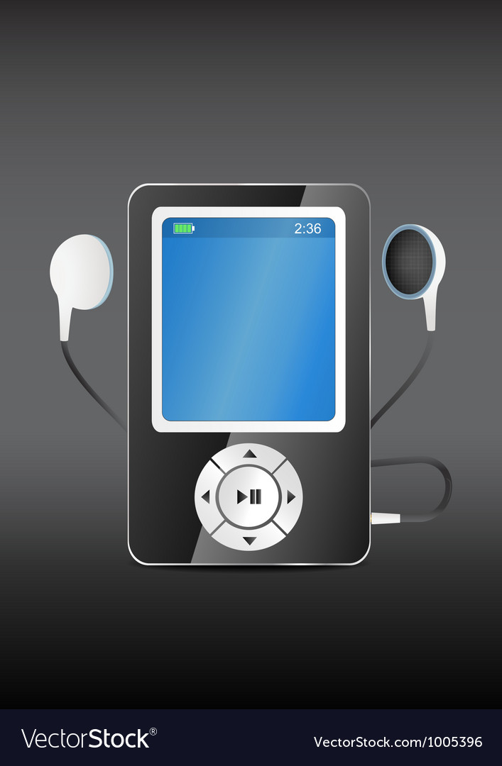 Stylish modern mp3 player with earphones vector | Price: 1 Credit (USD $1)