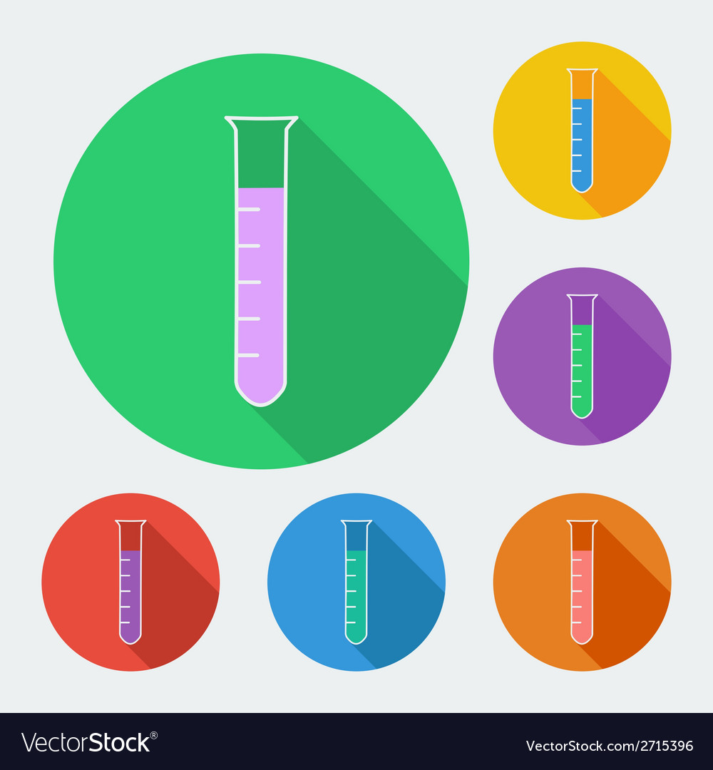 Test-tube icon with long shadow -  six colors set vector | Price: 1 Credit (USD $1)